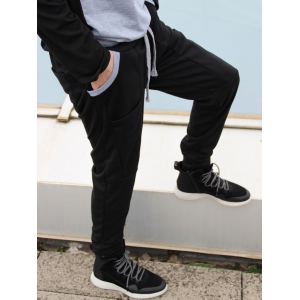 Slimming Stylish Lace-Up Color Block Splicing Beam Feet Polyester Men's Sweatpants - BLACK XL