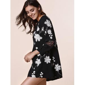 Sweet Round Neck Long Sleeves Patchwork Floral Print Women's Dress -