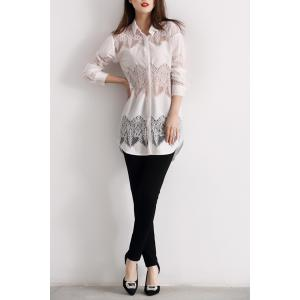 Lace Panel Button Up Long Shirt -