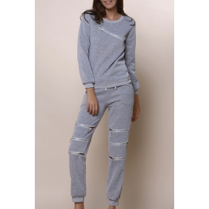 Casual Round Neck Long Sleeve Sweatshirt + Elastic Waist Hollow Out Pants Women's Twinset