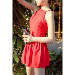 Trendy High Neck Red Ruffled One-Piece Swimsuit For Women -