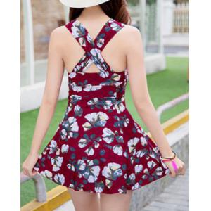 Sweet Floral Print Flounce Bodycon Women's One-Piece Swimsuit -