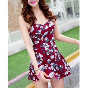 Sweet Floral Print Flounce Bodycon Women's One-Piece Swimsuit - WINE RED L
