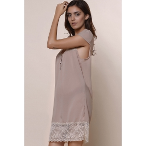 Sexy Plunging Neck Short Sleeve Laciness Solid Color Women's Dress - KHAKI M