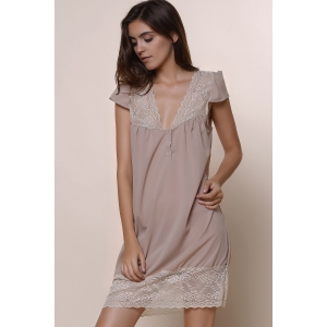 Sexy Plunging Neck Short Sleeve Laciness Solid Color Women's Dress -