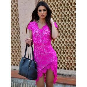 Sexy V-Neck Lace Embroidered Short Sleeve Bodycon Dress - ROSE M