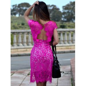 Sexy V-Neck Lace Embroidered Short Sleeve Bodycon Dress - ROSE L