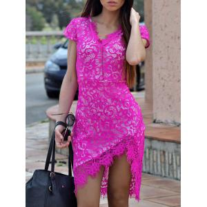 Sexy V-Neck Lace Embroidered Short Sleeve Bodycon Dress - Rose - L