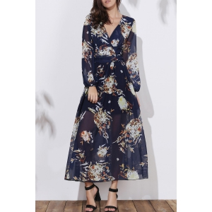 Floral Long Sleeve A Line Swing Dress - Black - M