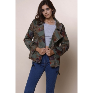 Stylish Turn-Down Collar Long Sleeve Camouflage Pattern Floral Women's Jacket -