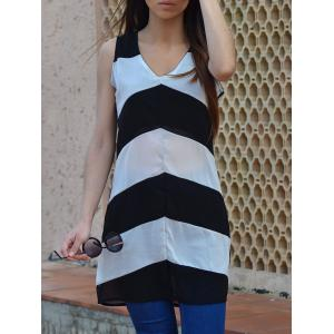 Sexy Plunging Neck Sleeveless Zig Zag Women's Dress - White And Black - Xl