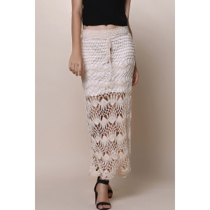 Crochet Lace Long Skirt - Apricot - One Size(fit Size Xs To M)