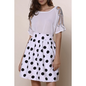 High Waisted Polka Dot A Line Skirt - White And Black - Xl