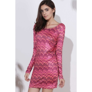 Sexy Backless Colorful Chevron Printed Bodycon Mini Dress For Women - RED M