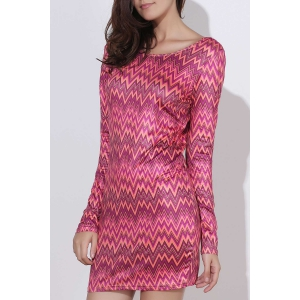 Sexy Backless Colorful Chevron Printed Bodycon Mini Dress For Women - Red - L