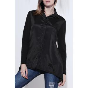 Loose Long Sleeeve Turn Down Collar Irregular Hem Women's Blouse
