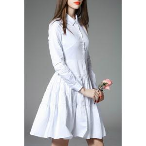 Pleated Flounce Shirt Dress -