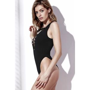 Alluring Style Plunging Neck Solid Color Hollow Out Women's Swimwear -