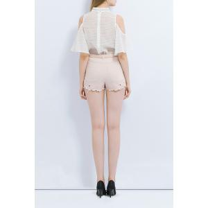 Cut Out Solid Color Shorts -