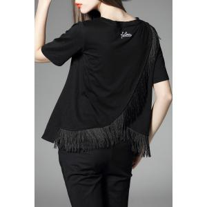 Fringed Letter Printed Convertible T-Shirt -