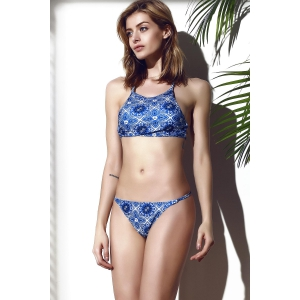 Stylish Spaghetti Strap Criss-Cross Floral Printed Bikini Set For Women -