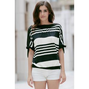 Casual Short Sleeve Black and White Striped Women's T-Shirt -