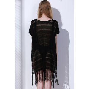 Open Knit Tassels Beach Short Sleeve Tunic Cover Up -