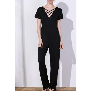 Sexy Hollow Out Lace-Up V-Neck Wide-Leg Jumpsuit Plus Size - Black - 2xl