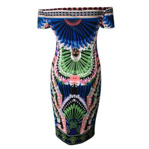 Alluring Off-The-Shoulder Colorful Printed Bodycon Dress For Women -