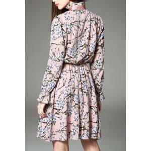 Bow Tied Collar Floral Print Dress -