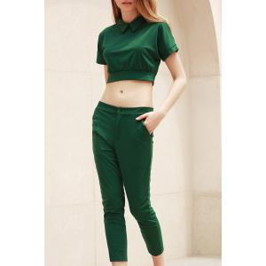 Trendy Peter Pant Collar Short Sleeve Solid Color and High-Waisted Pants Suit For Women