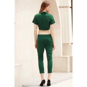 Trendy Peter Pant Collar Short Sleeve Solid Color and High-Waisted Pants Suit For Women - GREEN L