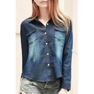 Fashionable Shirt Collar Long Sleeve Pocket Design Denim Women's Shirt