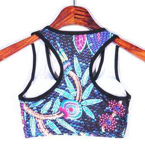 Stylish Racer Back Floral Print Splice Women's Sports Bra - COLORMIX L