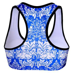 Refreshing U-Neck Color Block Floral Print Women's Sports Bra -