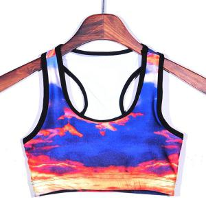 Comfortable U-Neck Splice Printed Women's Gym Bra -