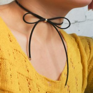 Hollow Out Adjustable Bow Embellished Chokers -
