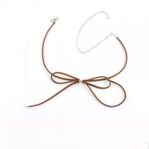 Hollow Out Adjustable Bow Embellished Chokers - Brown - 39
