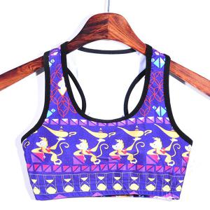 Ethnic Style Cartoon Print Padded Splice Women's Gym Bra -