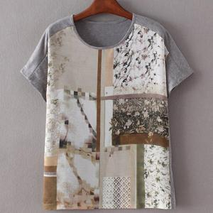 Stylish Round Collar Tiny Flower Print Patchwork Short Sleeve T-Shirt For Women