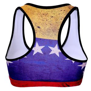 Stylish Racer Back Star Print Color Block Women's Sports Bra -