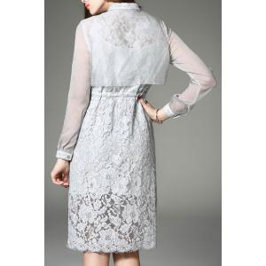 Single-Breasted Lace Shirt Dress -