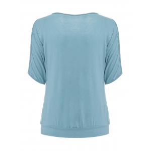 Stylish Scoop Neck Short Sleeves Cold Shoulder Printed T-Shirt For Women -