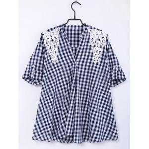 Sweet Half Sleeves V-Neck Plaid Print Lace Women's Blouse - White And Black - Xl