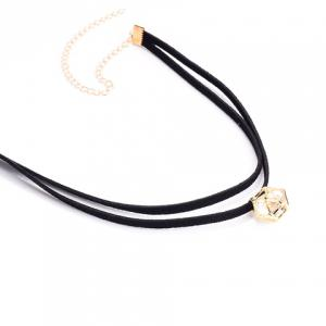Double Layered Hollow Cube Faux Zircon Embellished Chokers - BLACK