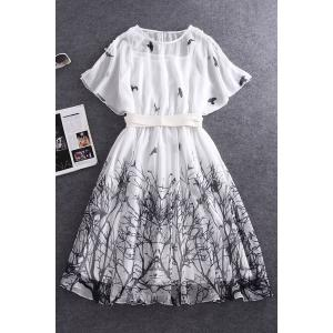 Batwing Sleeve Waisted Fairy Dress With Belt -