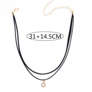 Double Layered Hollow Hexagram Pendant Chokers -