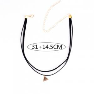 Punk Triangle Pendant Double Layered Chokers -