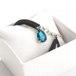 Water Drop Faux Gem Rivet Layered Choker - BLUE