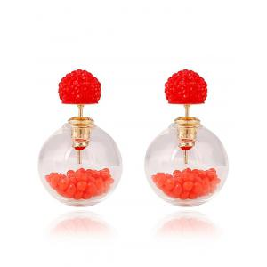 Pair of Resin Small Ball Pendant Stud Earrings - Red - W16 Inch * L24 Inch